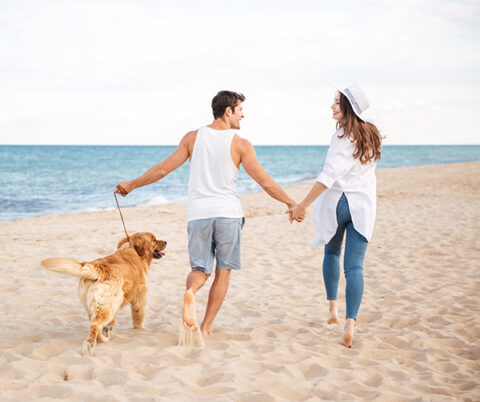 couple with dog on beach