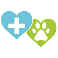 two hearts with cross and paw icon