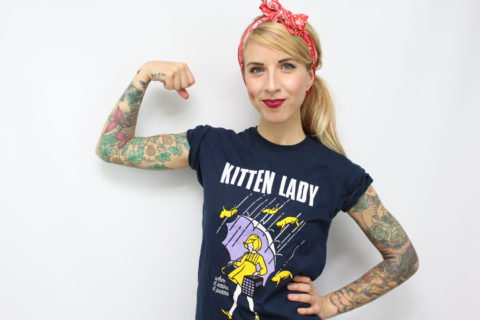 lady flexing her bicep