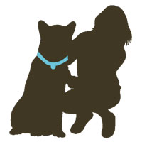 graphic of woman and dog